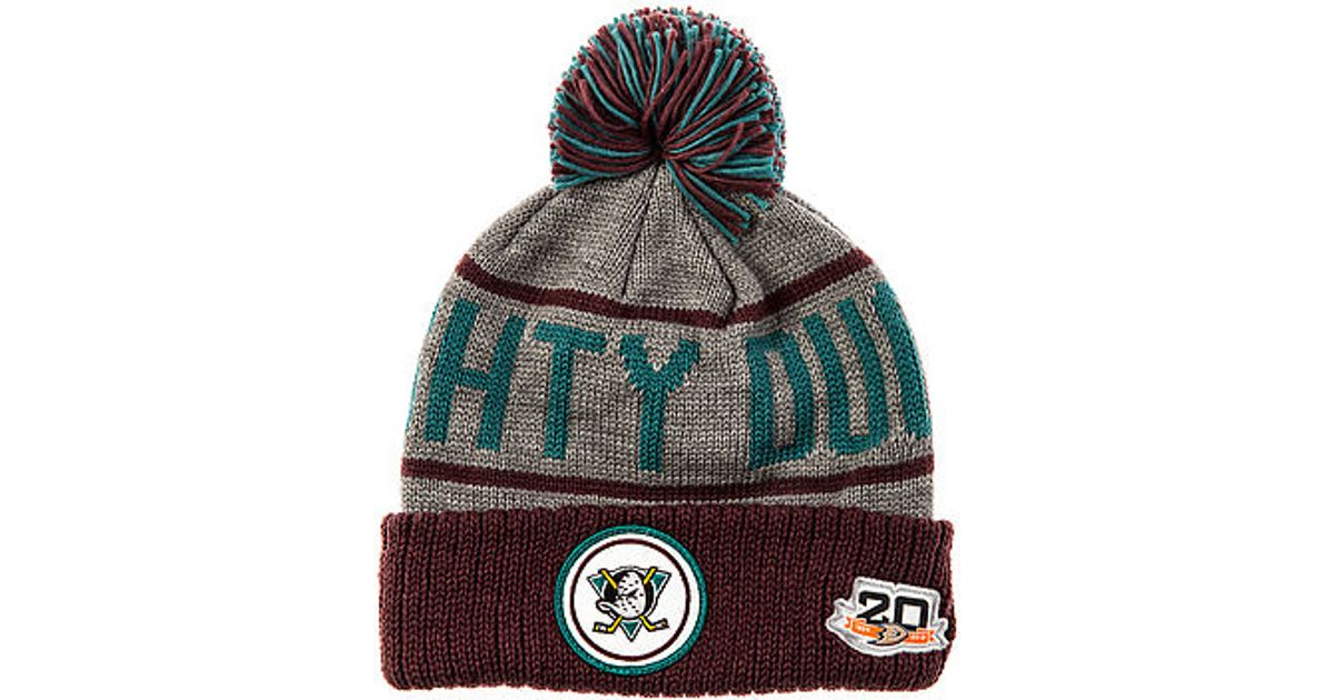 588bd187bdb ... knit hat 2d290 36c7b coupon code for lyst mitchell ness the mighty ducks  high 5 cuffed pom beanie in gray ...
