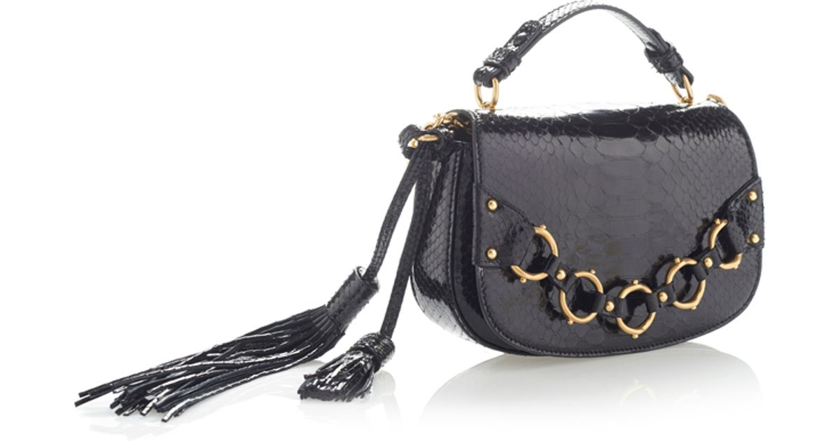 4d5c6dede1a Roberto Cavalli Shiny Python Ring Shoulder Bag in Black - Lyst