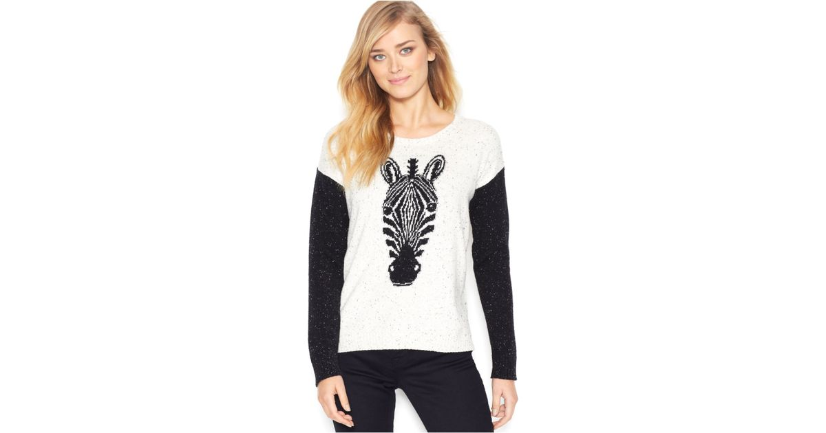 Kensie Long-Sleeve Zebra-Knit Colorblocked Sweater (Only At Macy'S ...