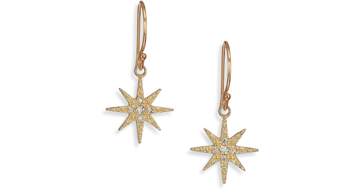 Lyst Mizuki Icicles Diamond 14k Yellow Gold Star Drop Earrings In Metallic
