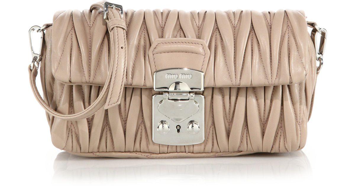 097a30e7f75 Lyst - Miu Miu Matelasse Small Leather Crossbody Bag in Pink