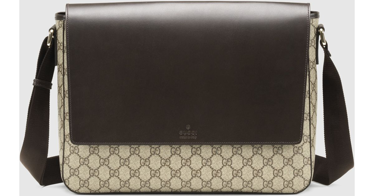 be3a13128bd3 Gucci Gg Supreme Canvas Messenger Bag in Brown - Lyst