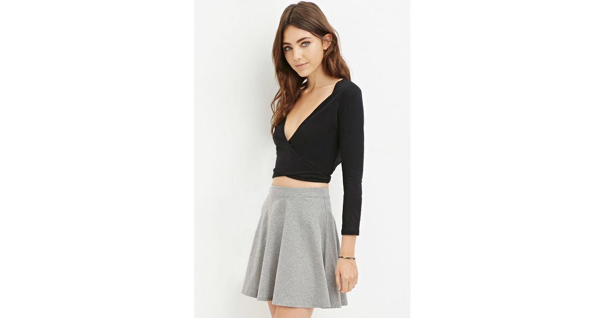 7a1d25339fc Forever 21 Tie-front Wrap Crop Top in Black - Lyst