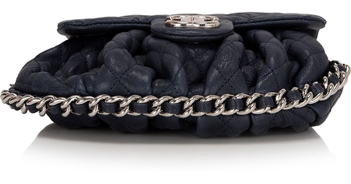 867829a5d8e8 Madison Avenue Couture Chanel Navy Aged Lambskin Chain Around Mini Cross  Body Messenger Bag in Blue - Lyst