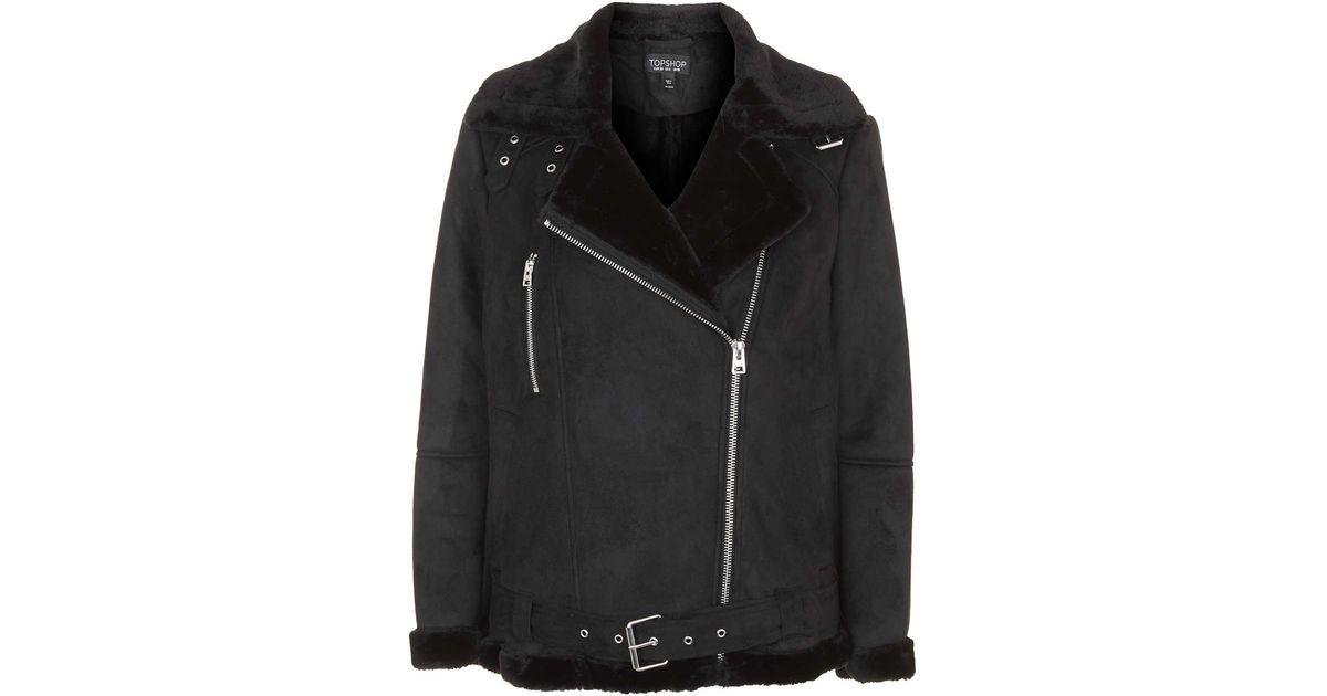 Topshop Faux Fur Aviator Biker Jacket In Black Lyst