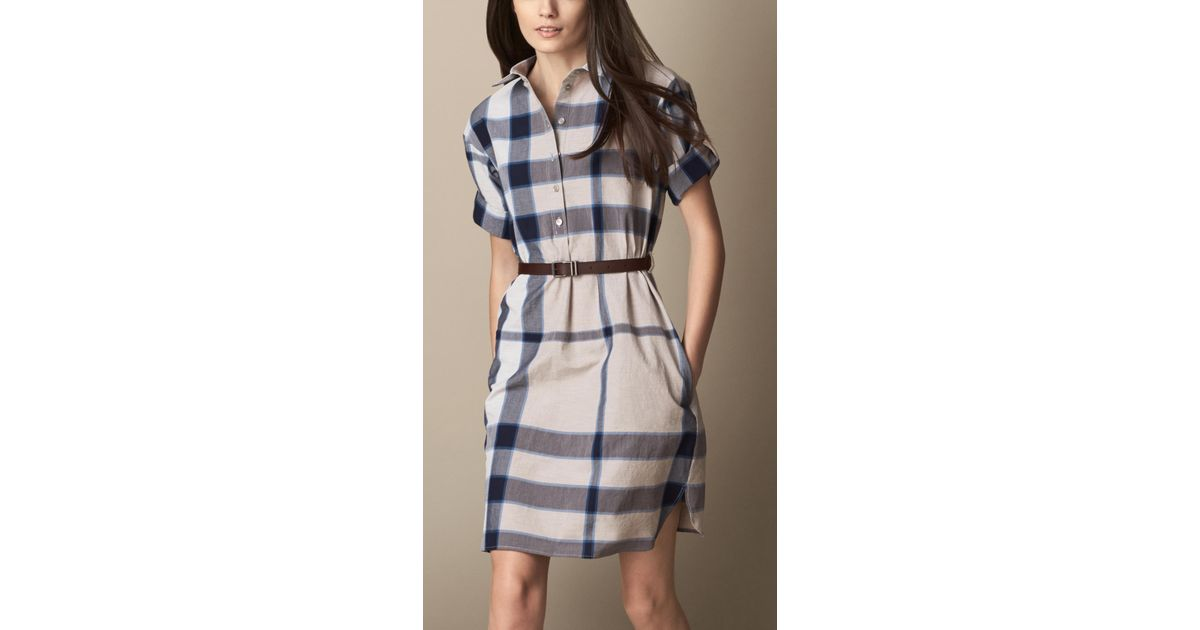 4531ae45f44f Burberry Check Shirt Dress with Leather Belt in Blue - Lyst