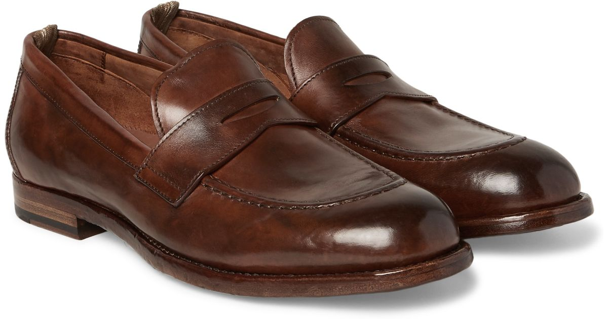 8672dead728 Officine Creative Ivy Polished-leather Penny Loafers in Brown for Men - Lyst