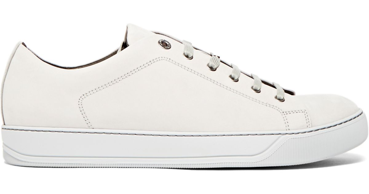 501f8189749 Lanvin Calfskin Nubuck Leather Low-top Sneakers in White for Men - Lyst