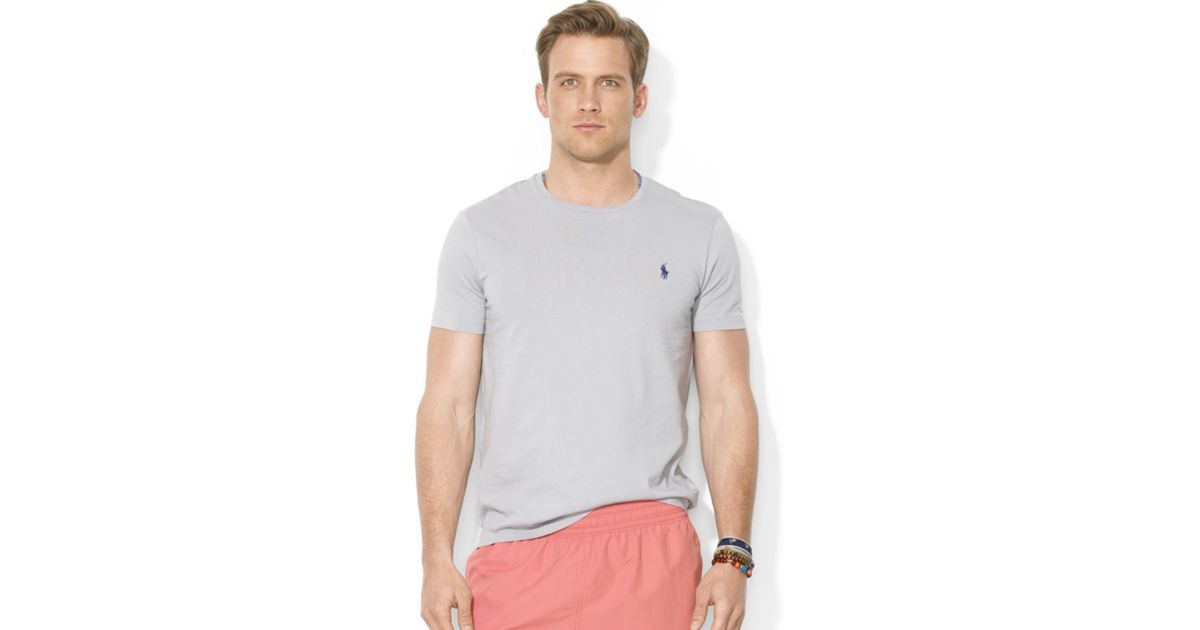 Lyst - Polo Ralph Lauren Polo Customfit Cotton Jersey Crewneck Tshirt in  Gray for Men 61ef50107f1f