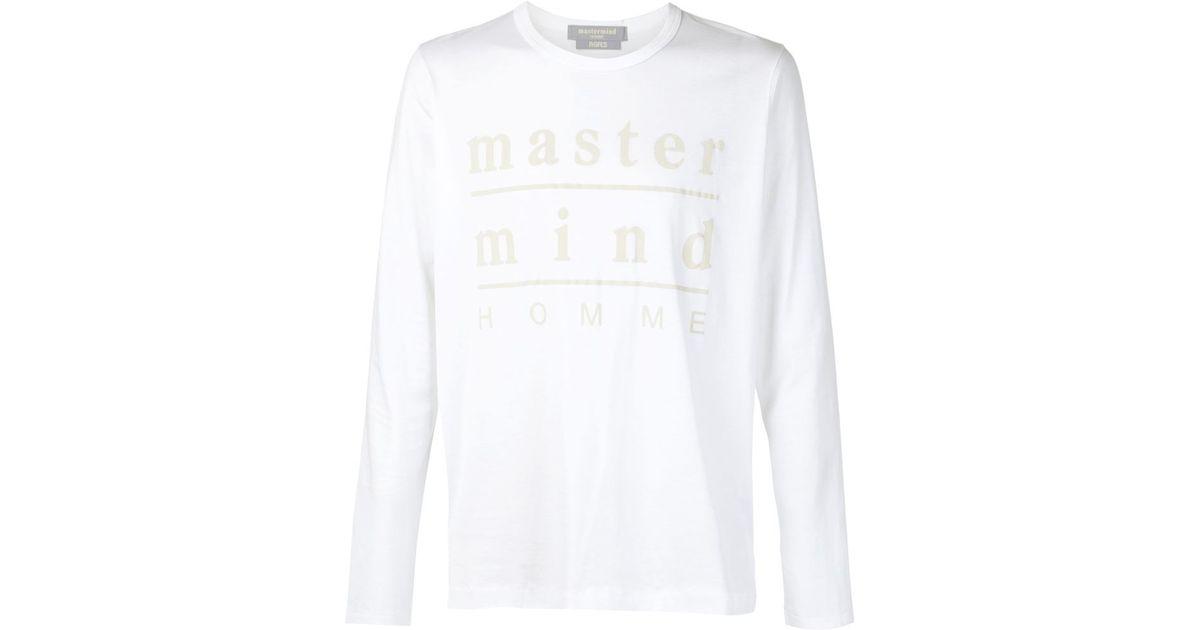 Sleeve Men White Lyst Long T Japan For Mastermind In Shirt Logo wv8tA