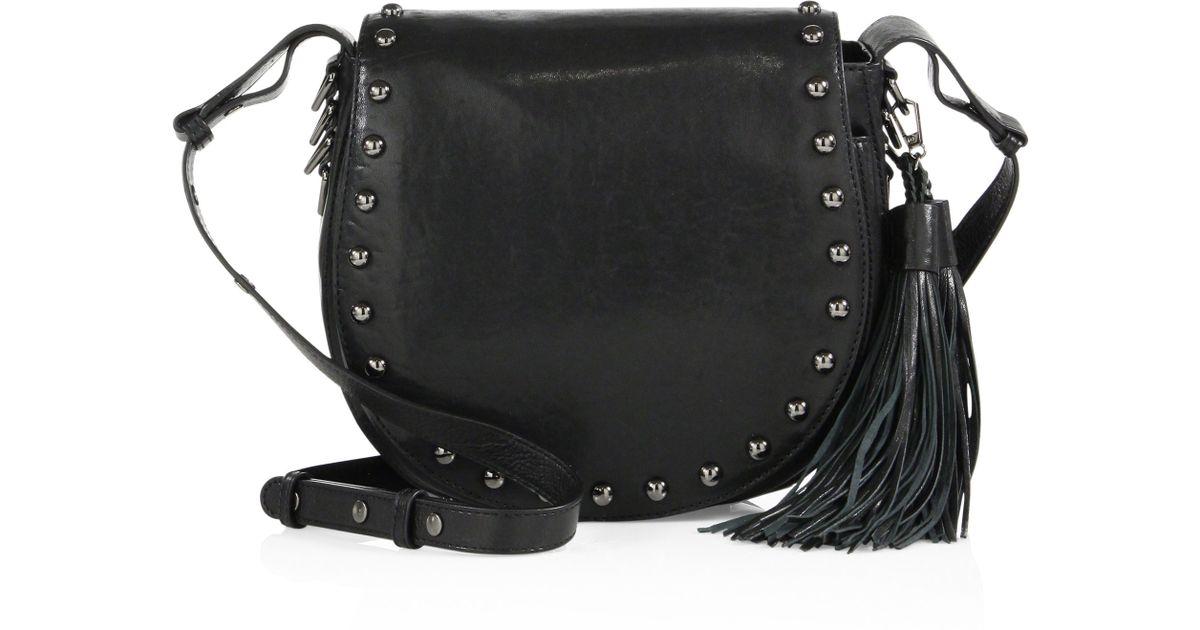 f2389a0c6ea7 Lyst - Rebecca Minkoff Renee Large Studded Leather Saddle Bag in Black