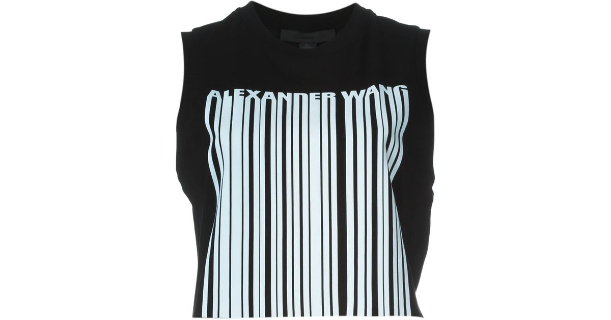 9bb6513a9cd84a Lyst - Alexander Wang Barcode Logo Tank Top in Black