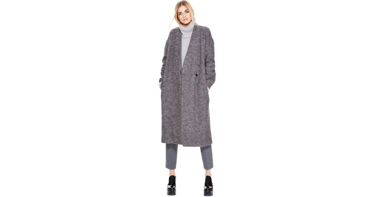 a00a726aa3 Lyst - DKNY Pure Long Coat With Self Belt in Gray