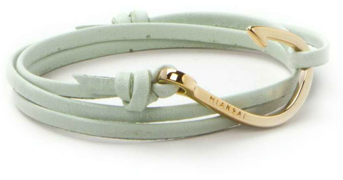 Miansai gold fish hook and mint green leather wrap for Leather fish hook bracelet