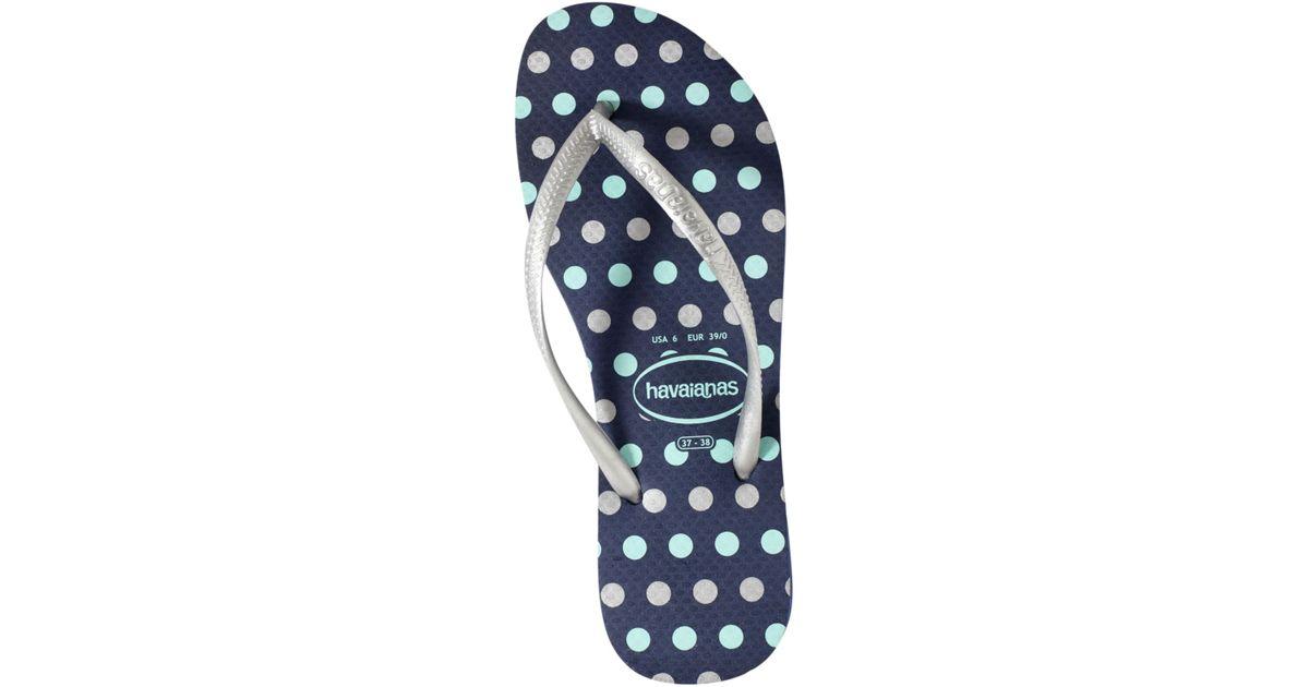 89265de40 Lyst - Havaianas Slim Fresh Dot Flip Flops in Blue