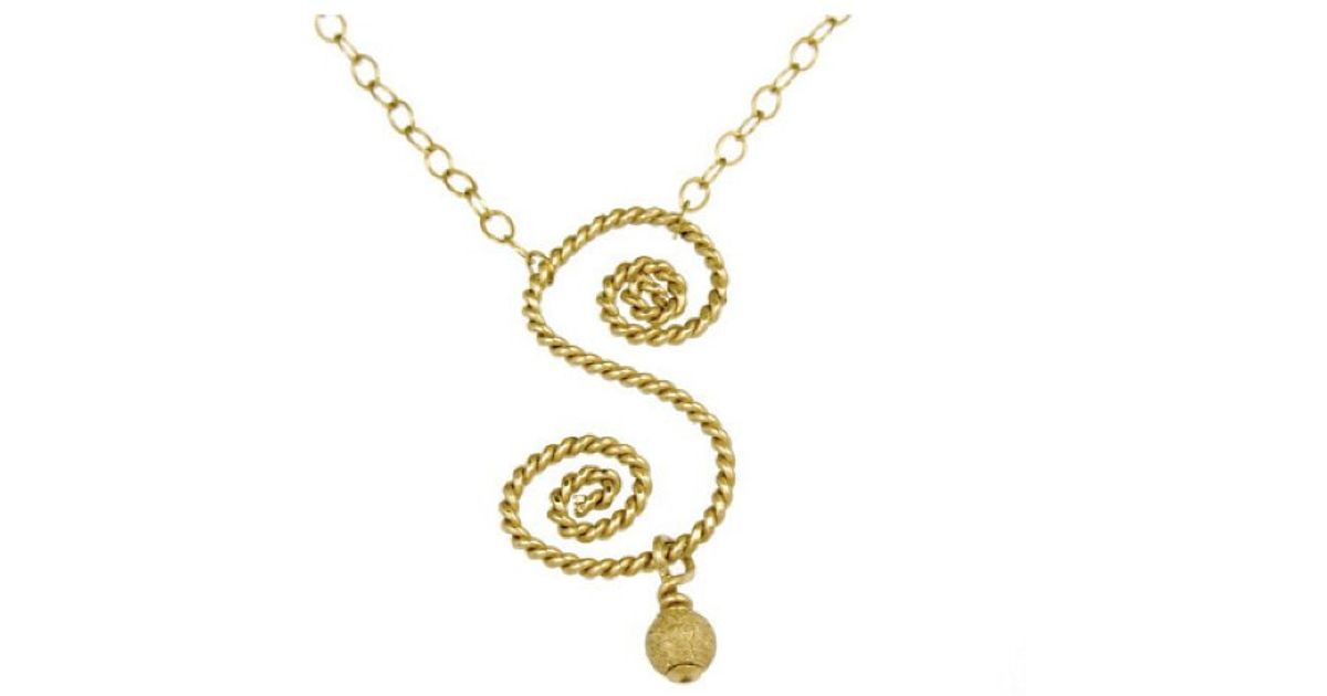 Lyst rafia initial s necklace in metallic aloadofball Choice Image
