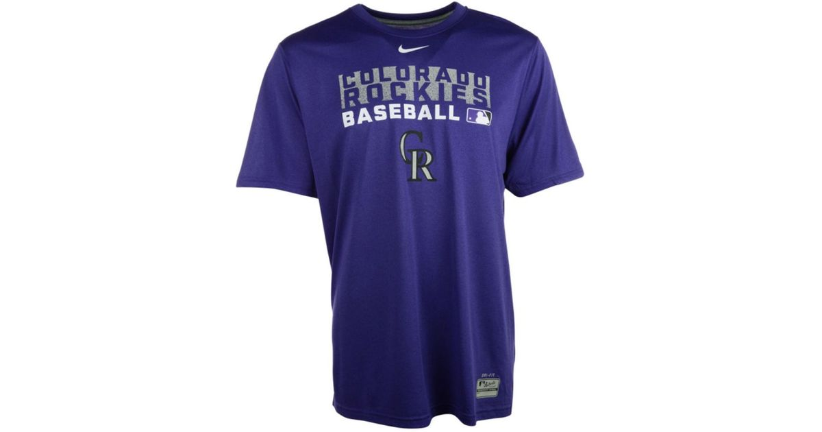 6fb9800a2 Lyst - Nike Men s Colorado Rockies Authentic Collection Dri-fit Legend Team  Issue T-shirt in Purple for Men