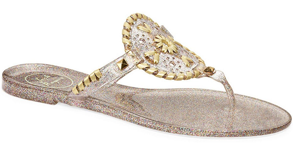 8bf6f4d81440 Jack Rogers Sparkle Georgica Jelly Sandals in Metallic - Lyst