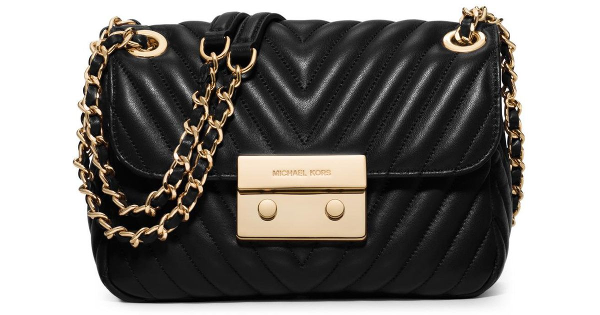 a9cc7421f6 Lyst - MICHAEL Michael Kors Sloan Small Quilted Leather Crossbody Bag in  Black