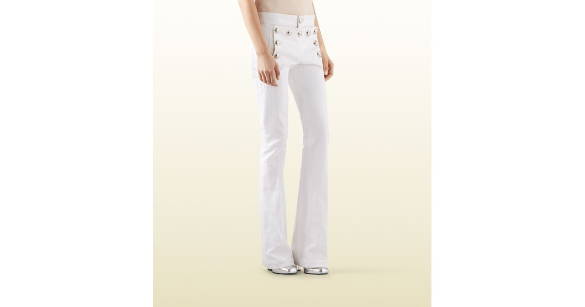 Gucci White Stretch Cotton Flared Sailor Pant in White | Lyst