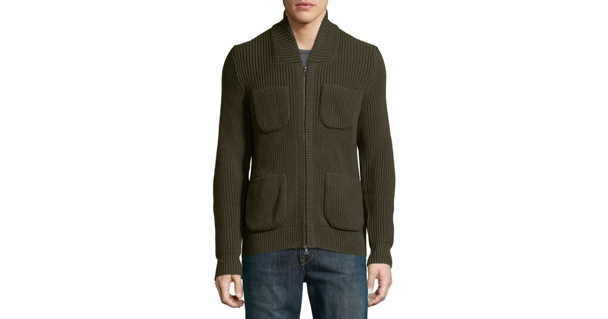 Knitting Pattern Bomber Jacket : Vince Knit Wool Bomber Jacket in Green for Men Lyst