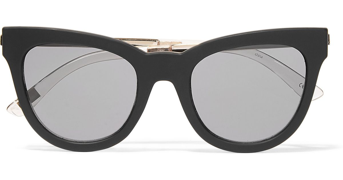 e6c31064f7 Le Specs Le Debutante Cat-eye Rubber And Gold-tone Sunglasses in Black -  Lyst