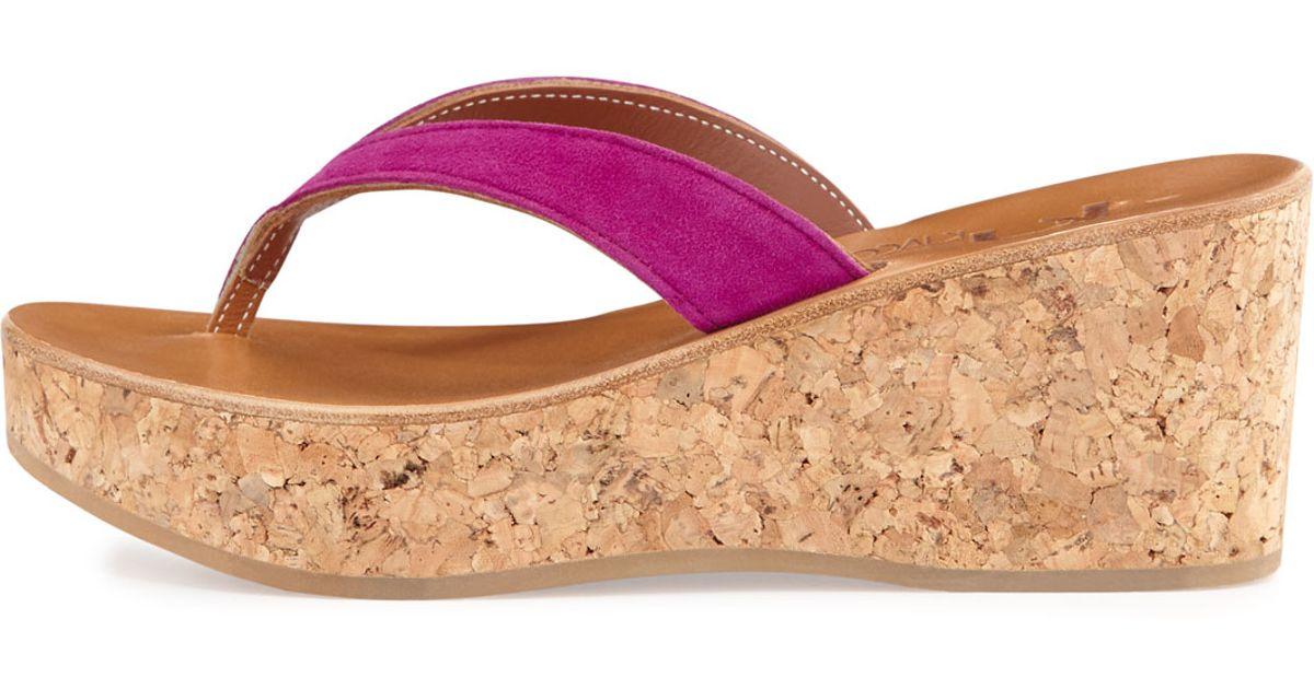 c0f36c12657b Lyst - K. Jacques Diorite Fuchsia Suede Cork Wedge Thong Sandal in Pink