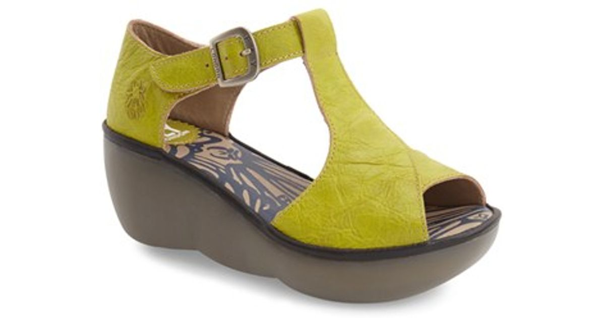 fly boda platform wedge sandal in green lyst