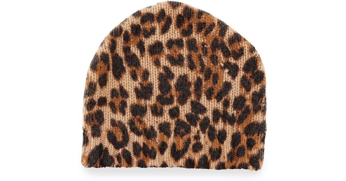 Lyst - Sofia Cashmere Leopard-print Cashmere Beanie Hat ef057137b71