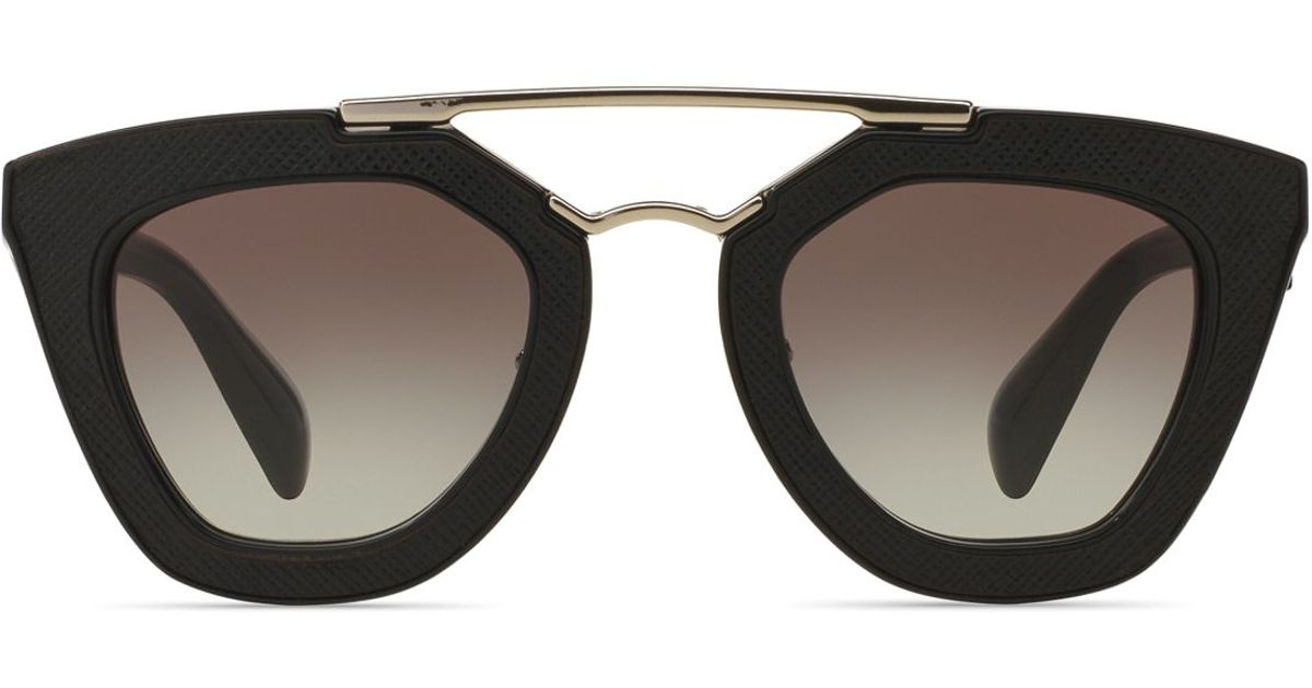 c78d968e649 ... italy lyst prada ornate saffiano leather cat eye sunglasses 49mm in  black a3fff 55642