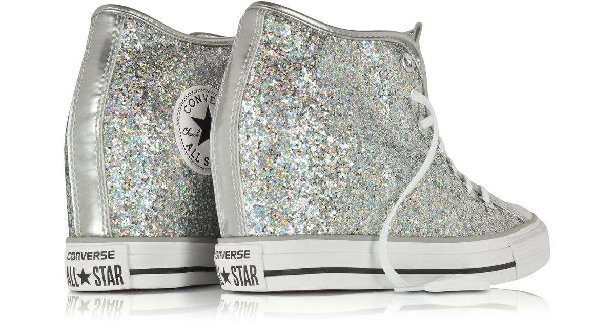 Converse All Star Mid Lux Glitter Wedge Sneaker In Gray Lyst