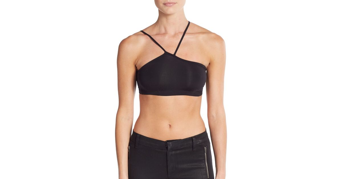helmut lang asymmetric bra in black lyst. Black Bedroom Furniture Sets. Home Design Ideas