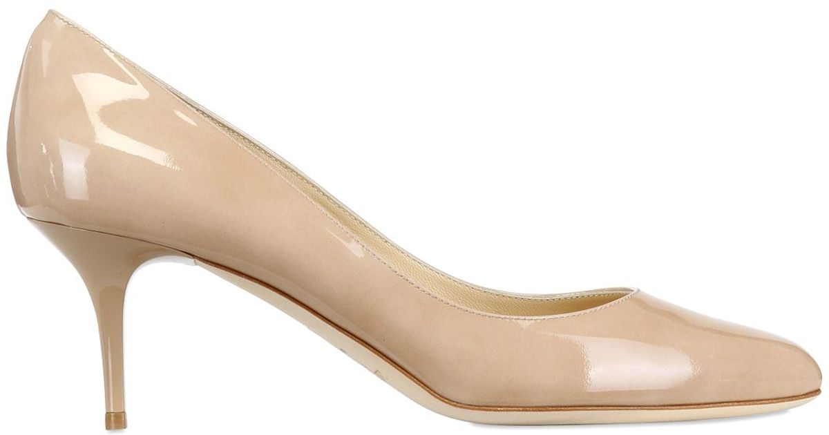 f1b3c1dbf44 Lyst - Jimmy Choo 65mm Irena Patent Leather Pumps in Natural