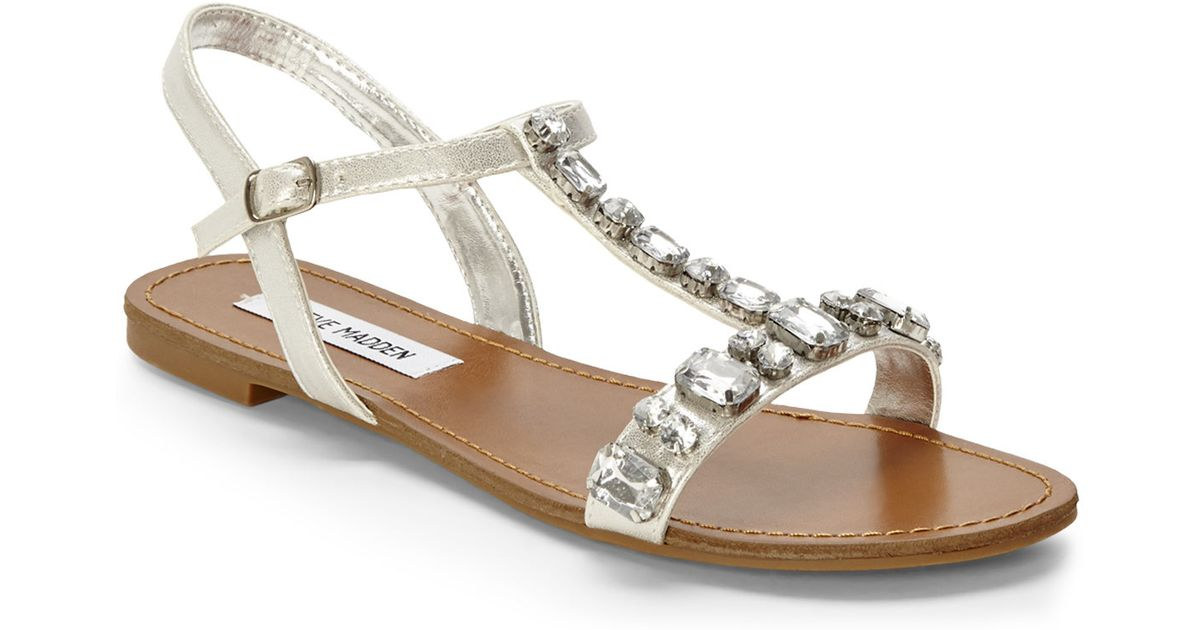 5f0796d3940 Lyst - Steve Madden Silver Bellow Jeweled Sandals in Metallic