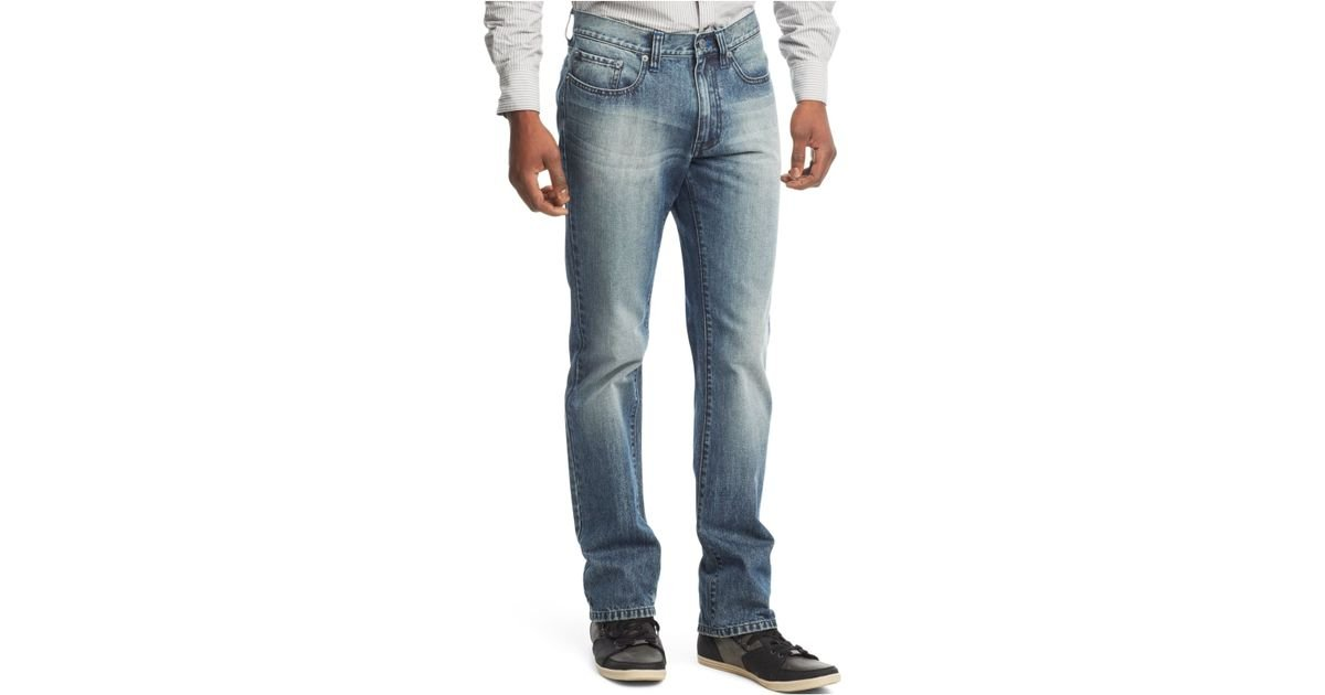 Kenneth cole reaction Light Wash Bootcut Jeans in Blue for Men | Lyst