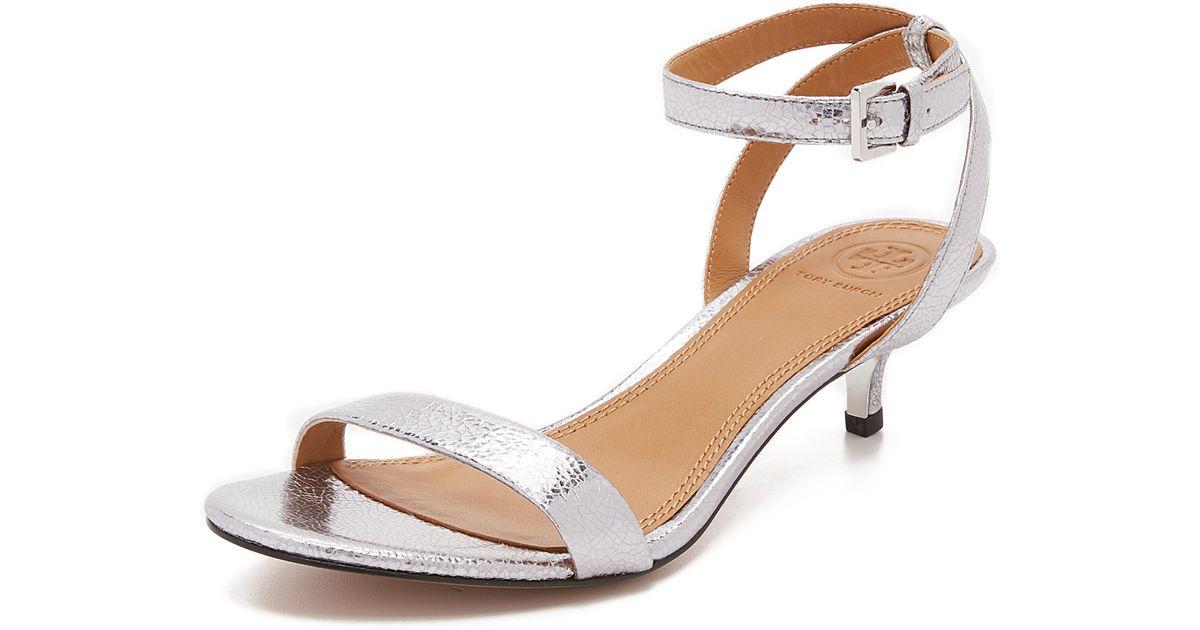 19595e30b02dda ... miller thong sandal pewter leather in metallic 06264 16130 czech lyst tory  burch elana metallic sandals in metallic 836d4 619ae ...