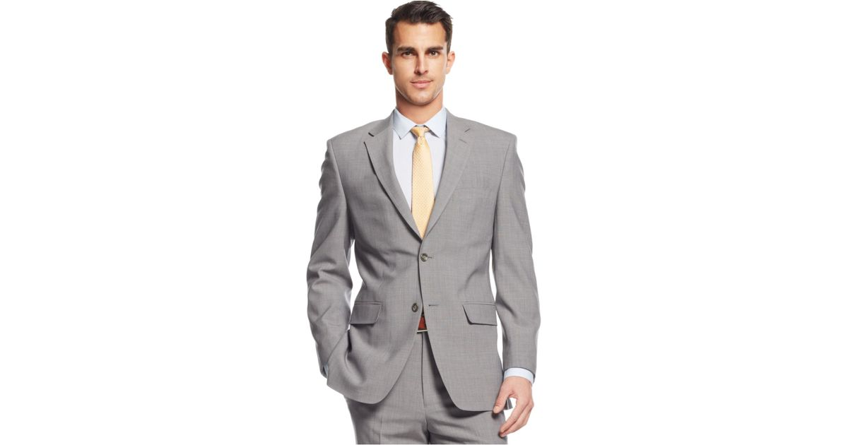Jones new york Light Grey Plaid Athletic-fit Suit in Gray for Men ...