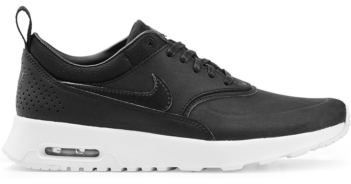 Nike Air Max Thea Premium Leather Sneakers - Black in Black   Lyst