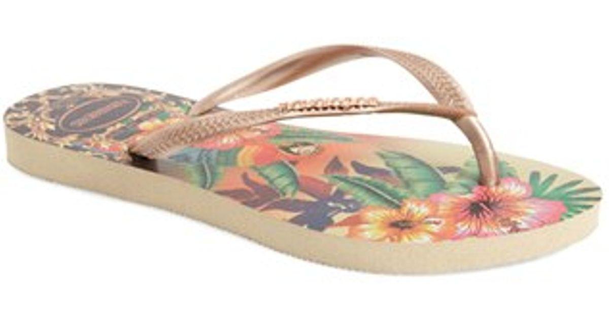 e4828a3cb3a2c Lyst - Havaianas Slim Tropical Flip-Flops in Natural