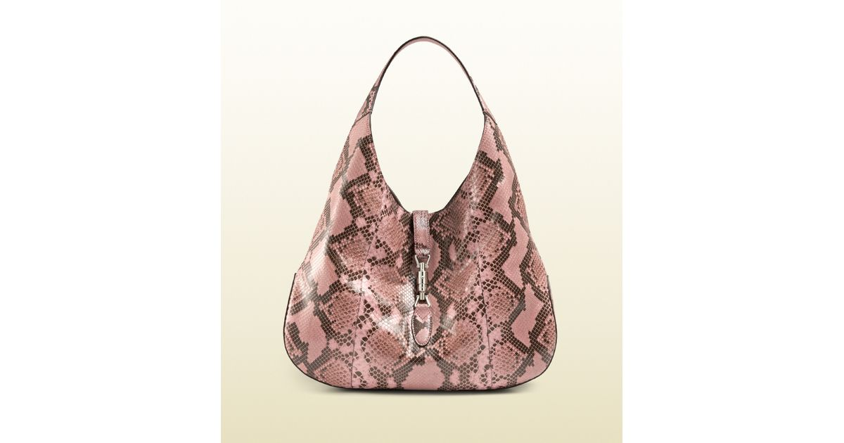 c4a1e1421 Gucci Jackie Soft Python Hobo in Pink - Lyst
