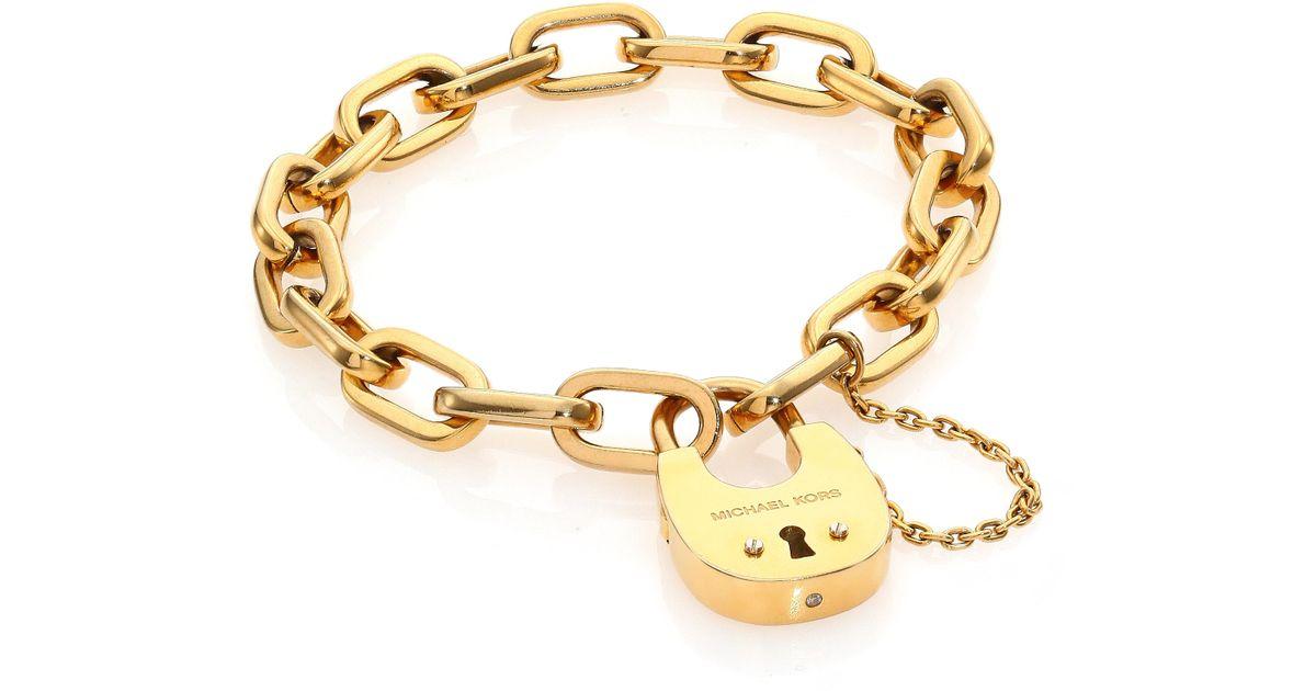 2c0083091b25 Lyst - Michael Kors Cityscape Hardware Padlock Chain Bracelet Goldtone in  Metallic