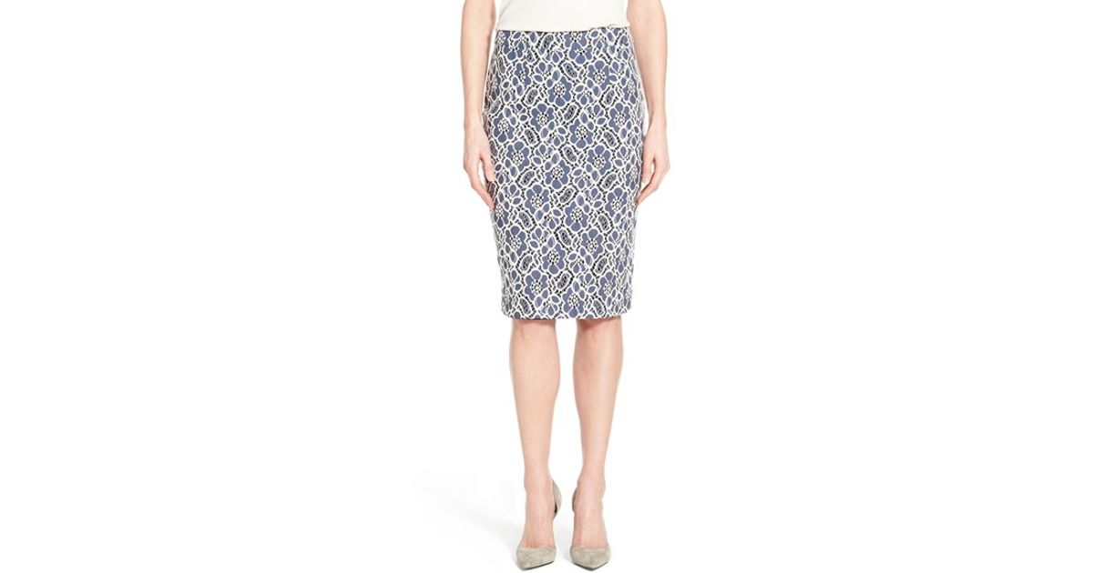 bd7734897e Lyst - Halogen Lace Pencil Skirt in Blue