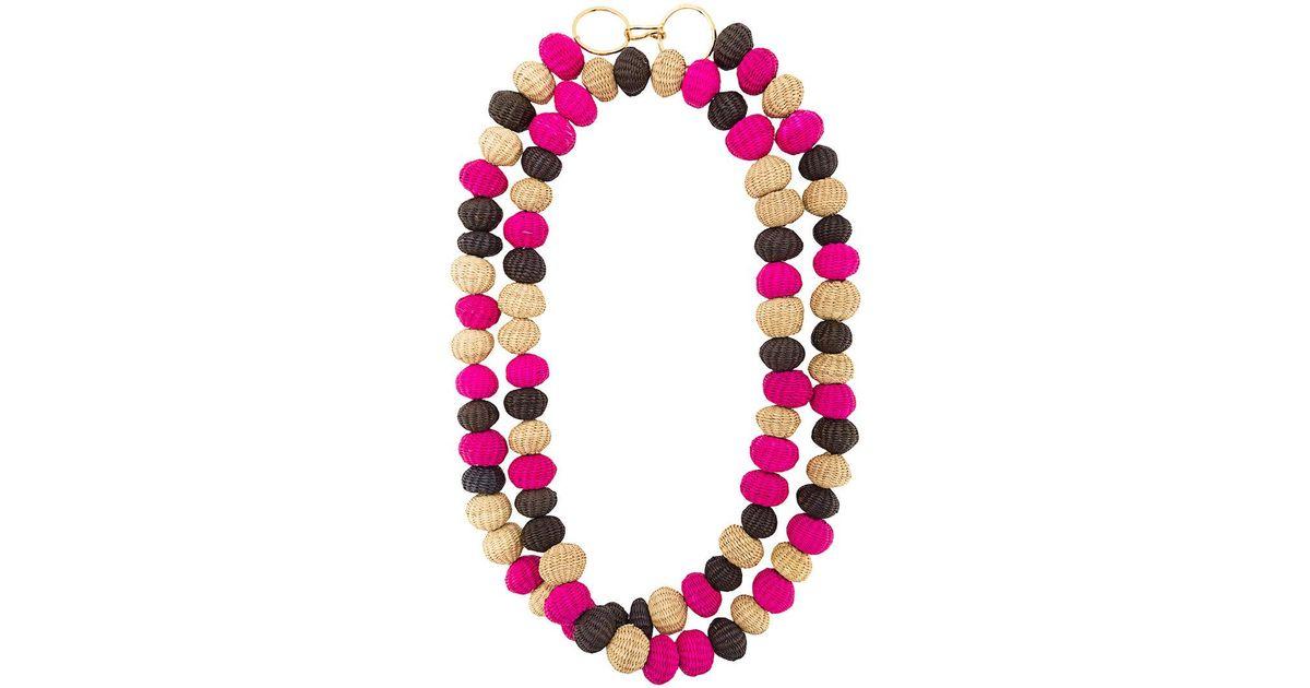 raffia beads necklace - Pink & Purple Carolina Herrera GNRjJH87MK