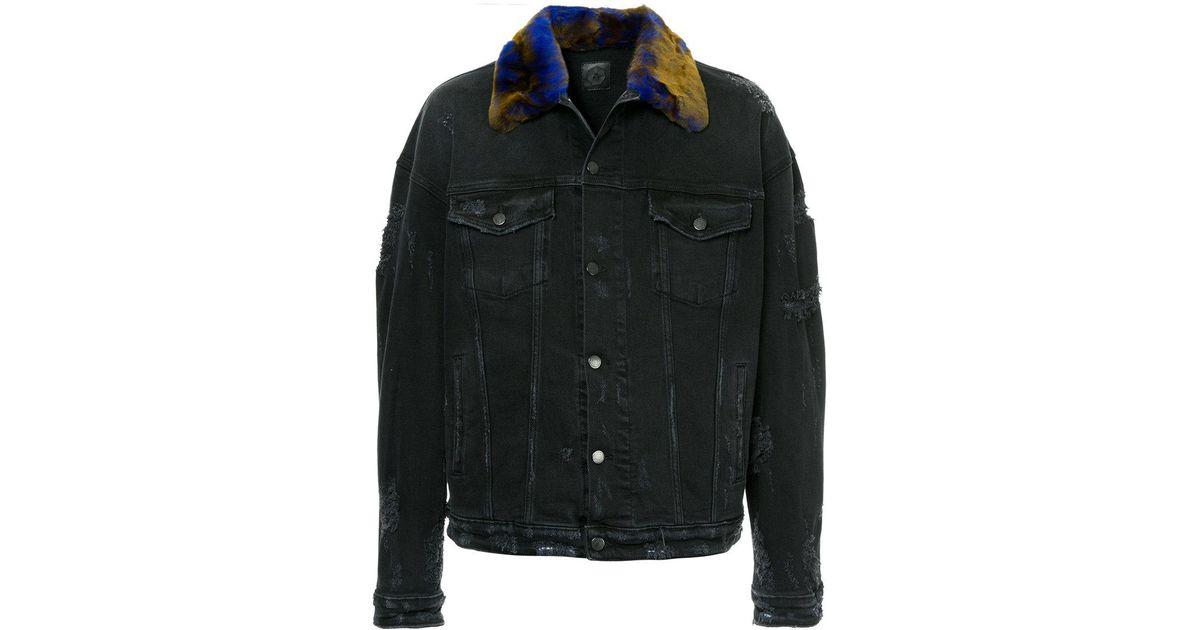 Alchemist Fur Collar Distressed Denim Jacket In Black For Men Lyst