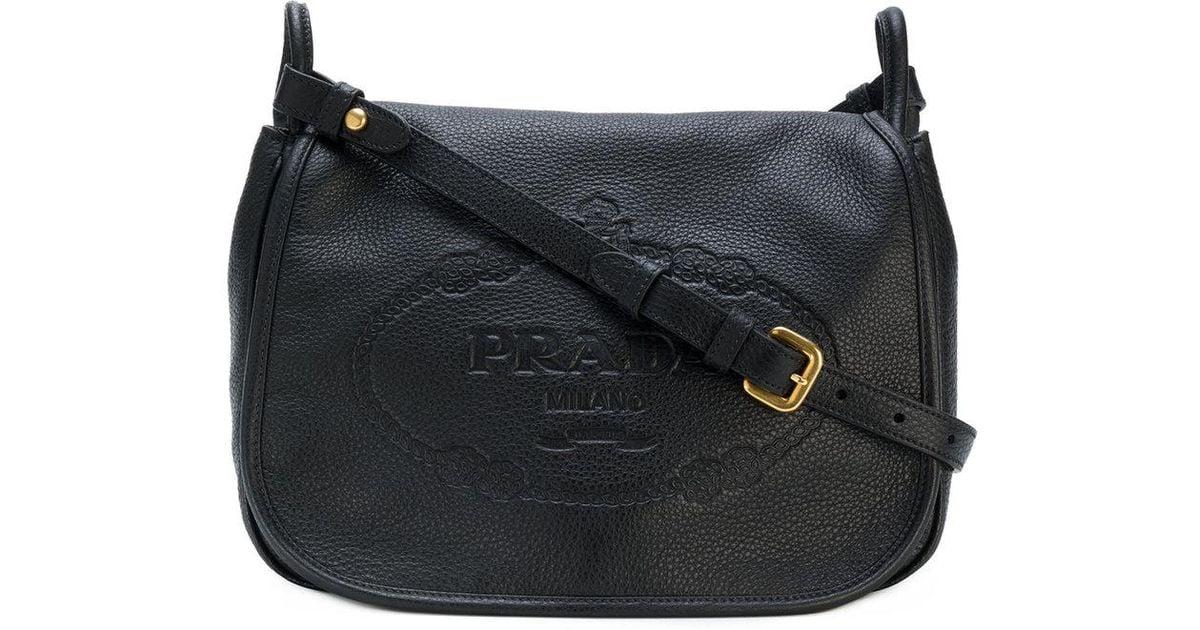 f8f76e37c0 Lyst - Prada Logo Embossed Shoulder Bag in Black