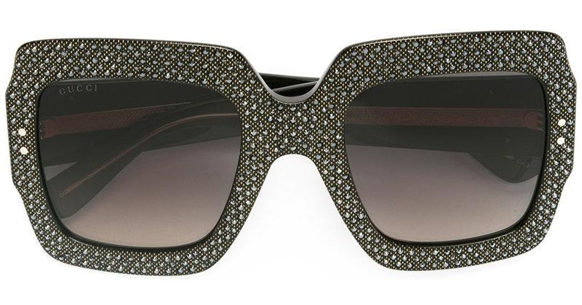 c3871b949 Gucci Oversize Crystal Square Sunglasses in Black - Lyst