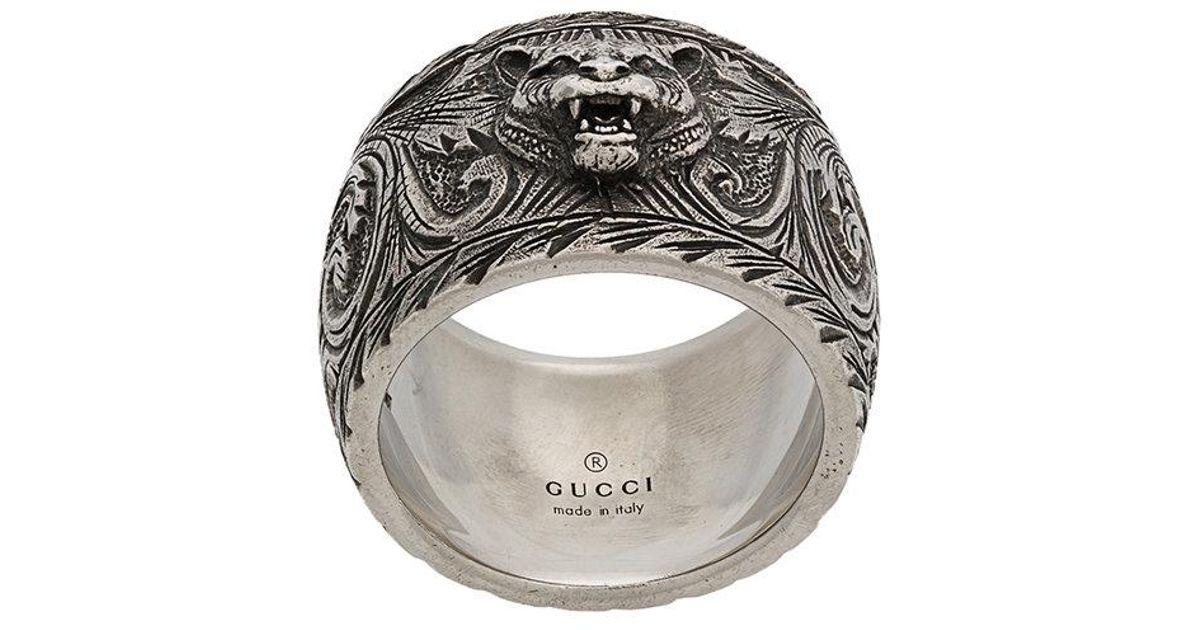 ec415e4d1 Gucci Feline Head Ring in Metallic for Men - Lyst