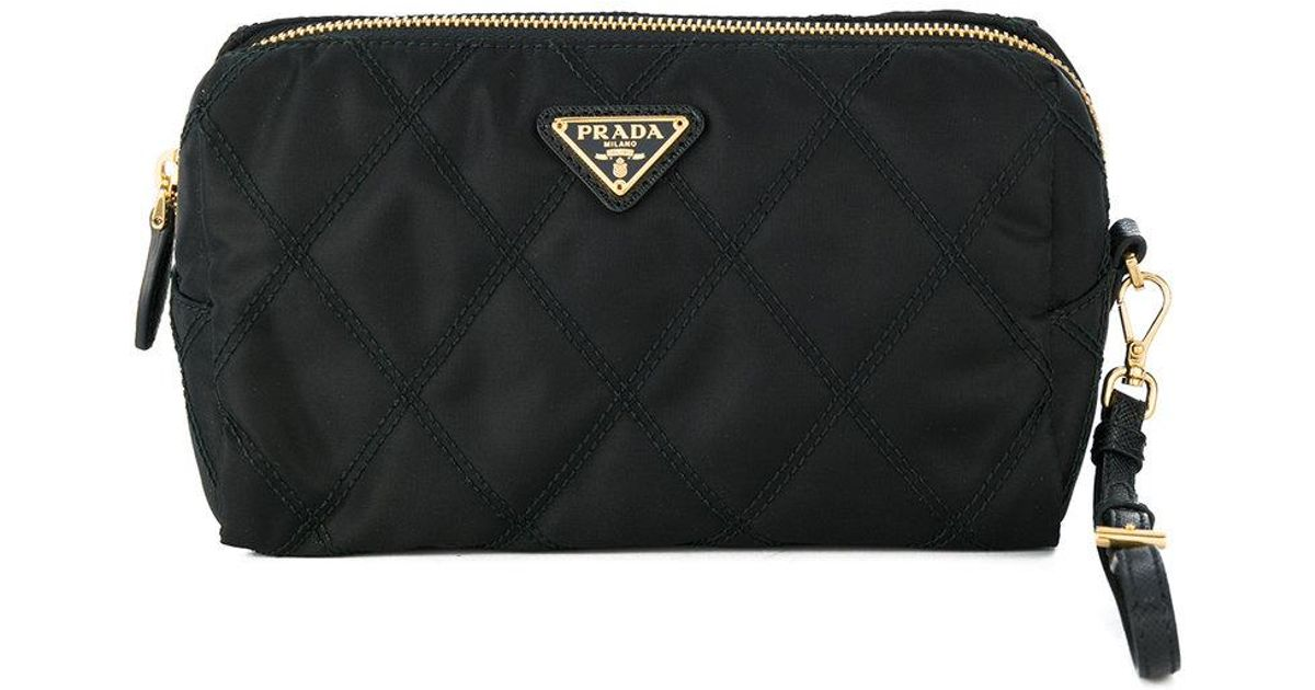 5ce2b8229a9e Prada Quilted Makeup Bag in Black - Lyst