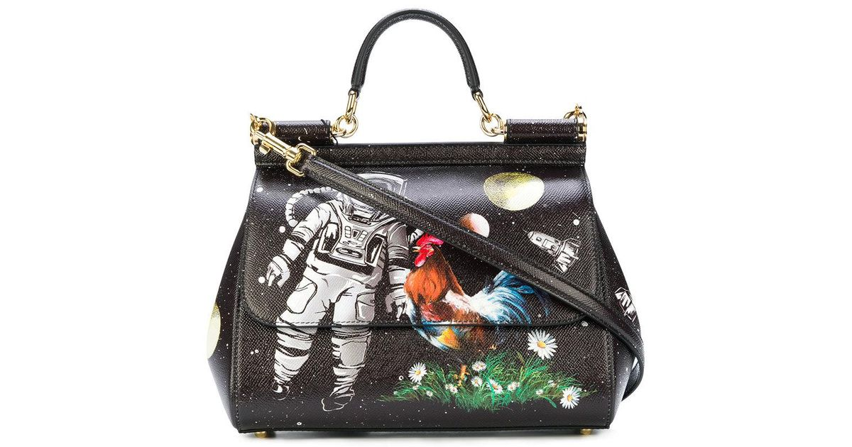 9378a545f3c8 Lyst - Dolce   Gabbana Sicily Astronaut Printed Tote Bag in Black