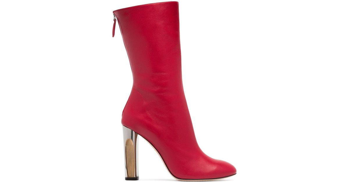 red sculpted heel 105 leather boots Alexander McQueen Discount Wholesale Price Cheap Lowest Price Outlet Huge Surprise Cz8WUtD